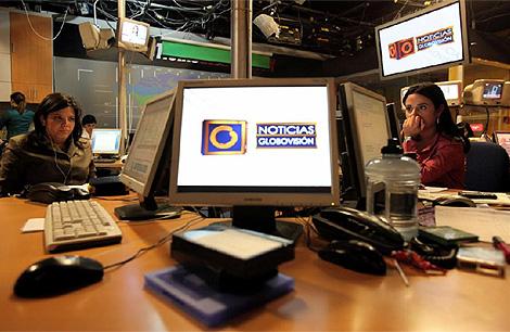 Redacción de la cadena privada venezolana Globovisión. (Foto: AFP)