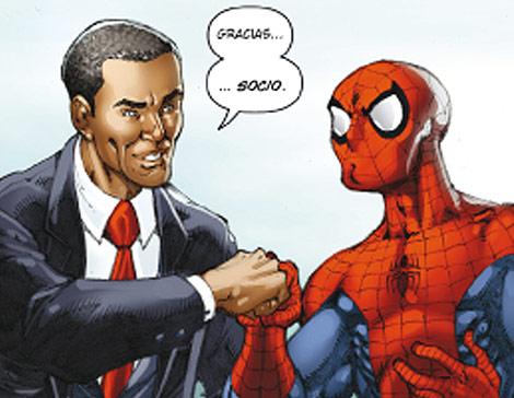 Obama y Spiderman, mano a mano en la aventurad e Marvel.