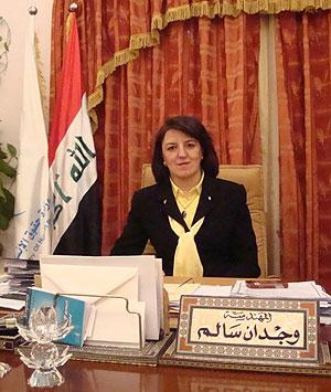 La ministra iraquí de Derechos Humanos, Wijdan Salim, durante la entrevista. (M. G. P.)