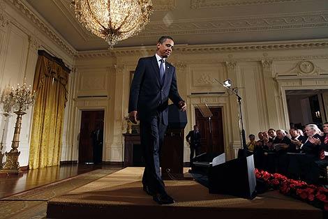 Obama en la Casa Blanca, tras anunciar el informe sobre Ciberseguridad. | AP