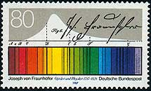 Sello alemán con la firma y el espectro de Fraunhofer. | Universidad de Frankfurt
