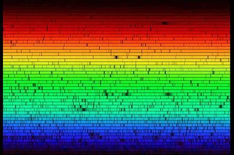 El espectro solar con miles de líneas oscuras. | NOAO
