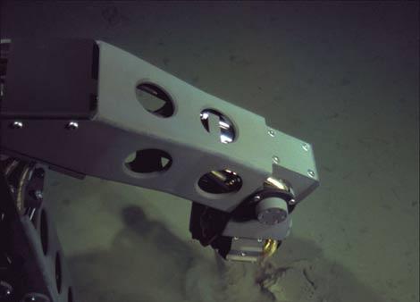 Un brazo del robot coge muestras del suelo marino en la zona más profunda del océano. | WHOI
