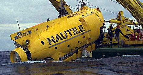 El submarino francés 'Nautilus' en el mar Mediterráneo.
