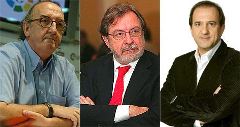 Jaume Roures (Mediapro), Juan Luis Cebrián (Prisa) y José Miguel Contreras (La Sexta). | Agencias