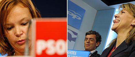 Pajín y De Cospedal, este lunes en las sedes del PP y PSOE. | B. Rivas/AFP