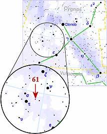 L a estrella 61 en la constelación del Cisne.   RJ Hall