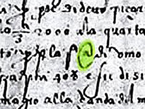 Reproducción de parte del documento de 1536 donde aparece el símbolo de la arroba. | Efe