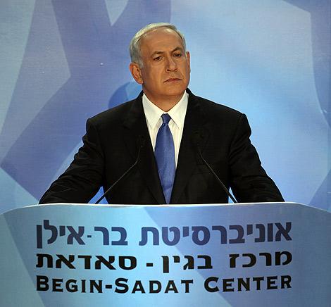 Netanyahu, durante su discurso en la Universidad de Bar-Ilan. | AP