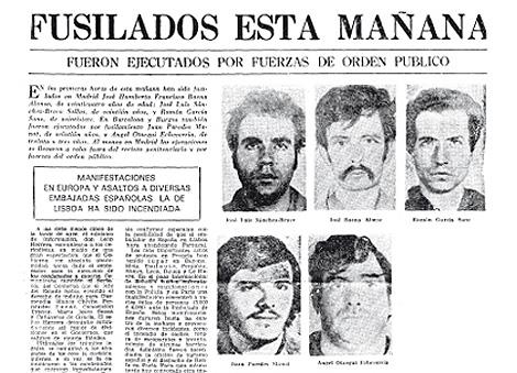 Portada de un periódico de la época con la noticia de los fusilamientos. | frap.es