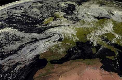 Imagen tomada por el satélite Meteosat a 36.000 kilómetros | Efe / AEMET