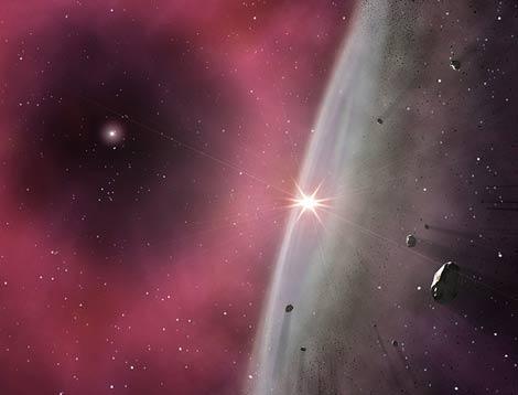 Representación del disco protoplanetario en los primeros instantes de la formación del Sistema Solar, inmerso en los residuos de una estrella AGB cercana, de seis masas solares. | Gabriel Pérez Díaz, Instituto de Astrofísica de Canarias