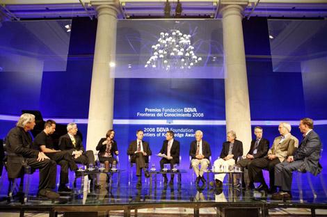 Momento del debate entre los ganadores del Premio Fronteras del conocimiento. | Sergio Enríquez
