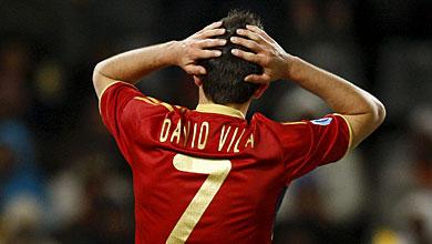 Villa, en un momento del partido. | Efe