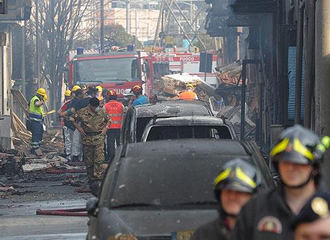 Vista general del lugar en el que se registró la explosion. | Efe