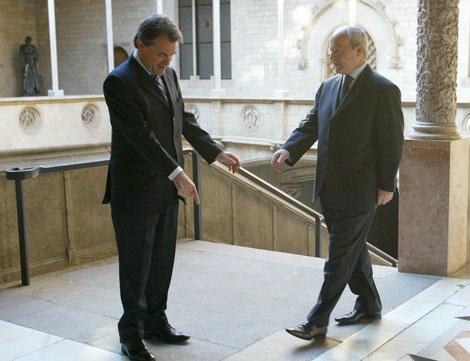 El presidente de la Generalitat y el líder de CiU antes de la reunión.  Domènec Umbert