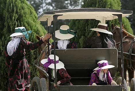 Mujeres menonitas en un carruaje tirado por caballos. | Efe