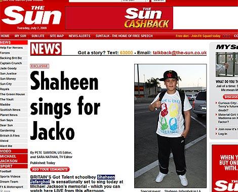 Shaheen Jafargholi,en la imagen que publica el diario 'The Sun'.