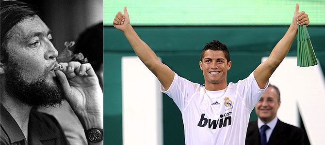 Julio Cortázar y Cristiano Ronaldo.   Fotos: Horacio Villalobos/Corbis   AFP