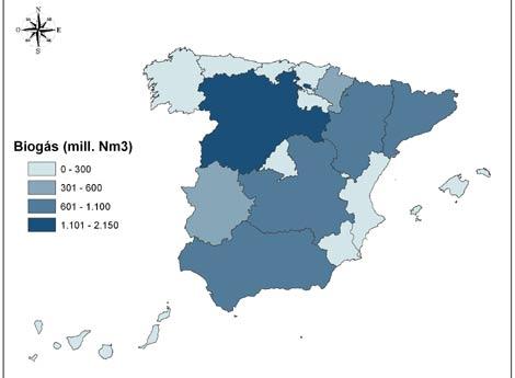 Mapa del potencial de biogás en España. | PSE Probiogás