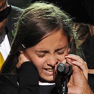 Paris Jackson en el funeral de su padre. | Foto: Reuters