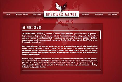 Página web de Inversiones Dalport SA.