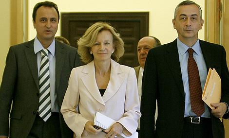 La ministra de Economía, Elena Salgado, en la presentación del nuevo modelo de financiación.   A. Di Lolli
