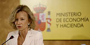Elena Salgado, ayer, durante la rueda de prensa donde anunció el proyecto (Foto: Alberto Di Lolli)