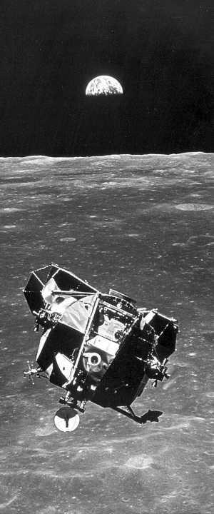 El módulo lunar, con Armstrong y Aldrin, regresa a la órbita lunar para emprender el retorno a la Tierra, el 21 de julio de 1969. (Foto: NASA).