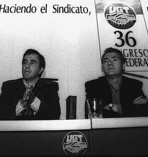 Apolinar Rodríguez y Agustín Moreno, en una comparecencia conjunta el 29 de marzo de 1994. (Foto: Cuellar).