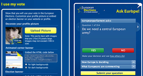 Dos de los tres 'widgets' del MySpace del PE, presupuestados a 180.000 euros.