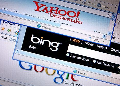 Fotografía de las páginas de búsqueda Yahoo!, Bing y Google.   EFE