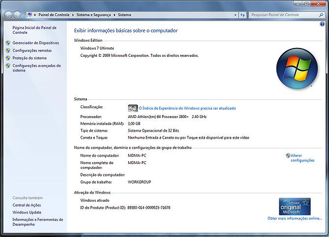 Información del Panel de Control en un Windows 7 'crackeado'.