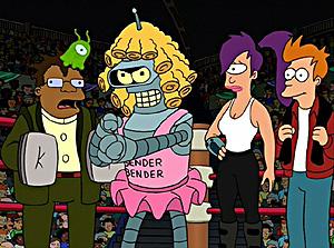 Bender, en primer plano, como luchador robótico travestido.