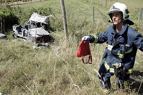 un bombero en un accidente ocurrido en Bilbao.   Mitxi