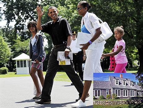 Obama, con su familia. Abajo la casa donde se alojará. | Reuters