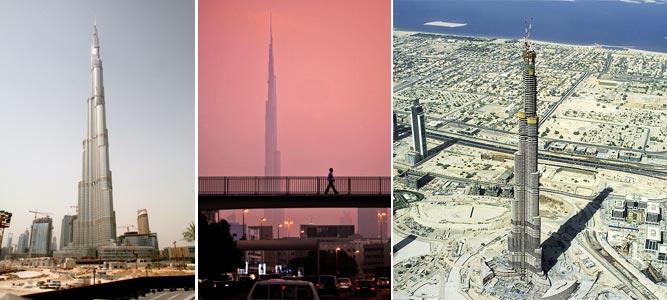 Aspecto actual de la Burj Dubai (818 m), de día y de noche A la derecha, vista aérea de la torre durante su construcción. | EFE y AP.