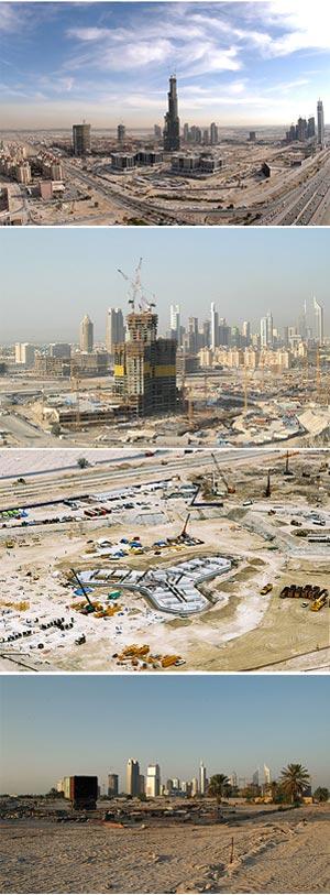 La torre en sus diferentes fases de construcción entre 2005 y 2009. | burjdubai.com