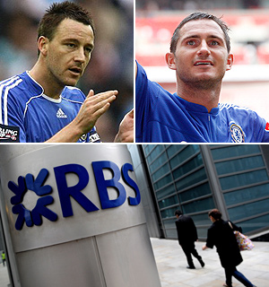 Arriba, los jugadores del Chelsea Terry y Lampard. Abajo, sede del RBS en Londres | Agencias