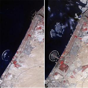 La costa de Dubai fotografiada por la NASA en octubre de 2002 y noviembre de 2008. | NASA
