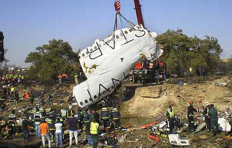 Parte del fuselaje del avión de Spanair siniestrado.