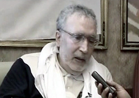 Abdul Baset Ali al-Megrahi, el terrorista de Lockerbie, en una rueda de prensa en Trípoli. | AFP