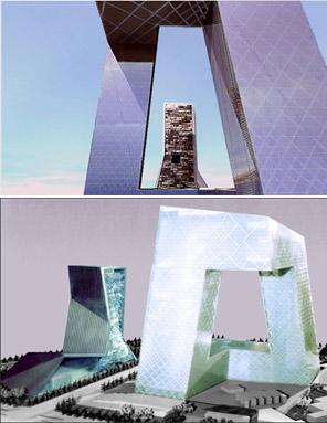 Recreación del edificio sede de la televisión pública china, que estará terminado este año.ÀLBUM: Koolhaas, el arquitecto irreverente