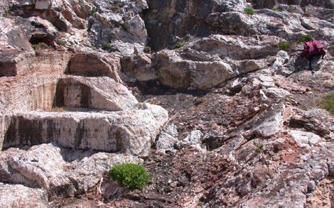 Sedimentos de calcita en la antigua cueva de Mallorca.|IGME