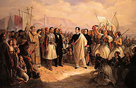 Un cuadro de Byron (en el centro) en Missolonghi, la ciudad griega en que murió en 1824.