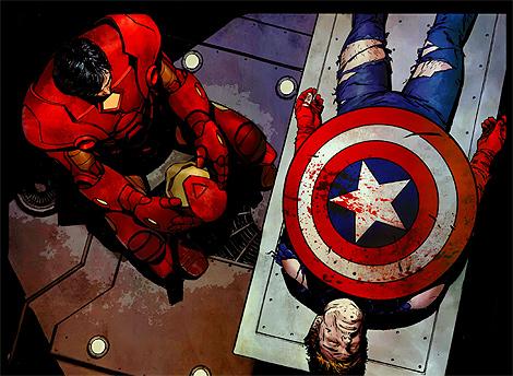 Iron Man llora la muerte del Capitán América en un cómic de Marvel. | Panini