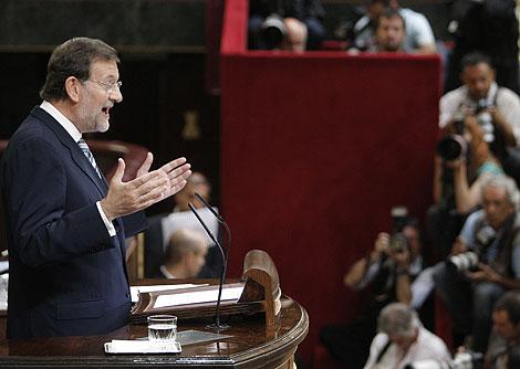 Mariano Rajoy, durante su intervención en el Congreso.   Efe