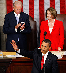 Obama, con Joe Biden y Nancy Pelosi. | AFP