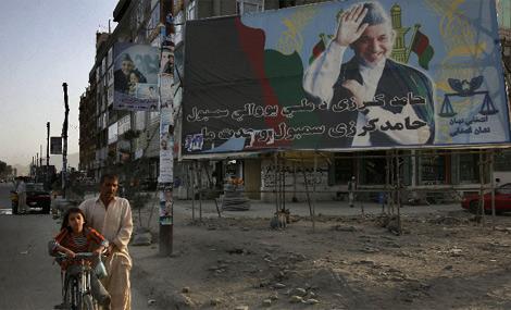 Propaganda electoral en Kabul. | AP