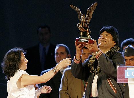 Evo Morales, durante el encuentro con bolivianos.   Alberto Di Lolli
